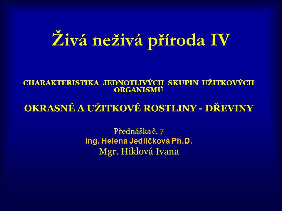 Živá neživá příroda IV CHARAKTERISTIKA JEDNOTLIVÝCH SKUPIN UŽITKOVÝCH ORGANISMŮ OKRASNÉ A UŽITKOVÉ ROSTLINY - DŘEVINY Přednáška č. 7 Ing. Helena Jedli