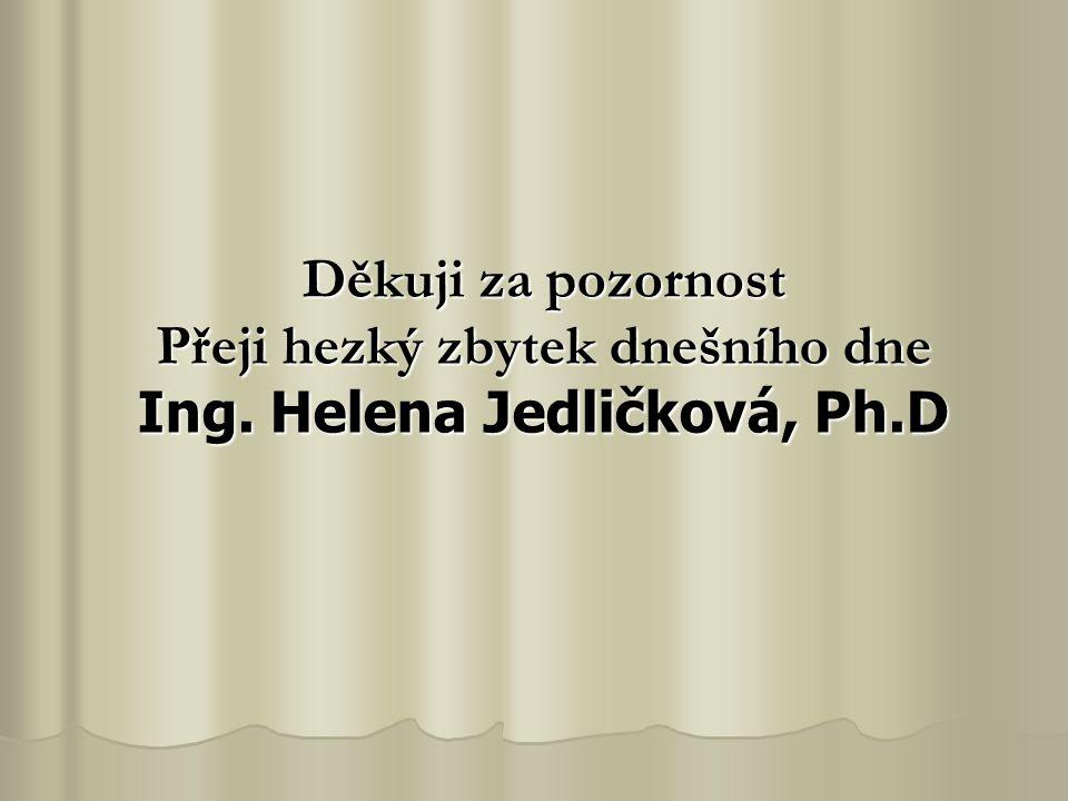 Děkuji za pozornost Přeji hezký zbytek dnešního dne Ing. Helena Jedličková, Ph.D
