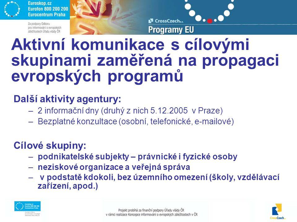 Další aktivity agentury: –2 informační dny (druhý z nich 5.12.2005 v Praze) –Bezplatné konzultace (osobní, telefonické, e-mailové) Cílové skupiny: –podnikatelské subjekty – právnické i fyzické osoby –neziskové organizace a veřejná správa – v podstatě kdokoli, bez územního omezení (školy, vzdělávací zařízení, apod.) Aktivní komunikace s cílovými skupinami zaměřená na propagaci evropských programů