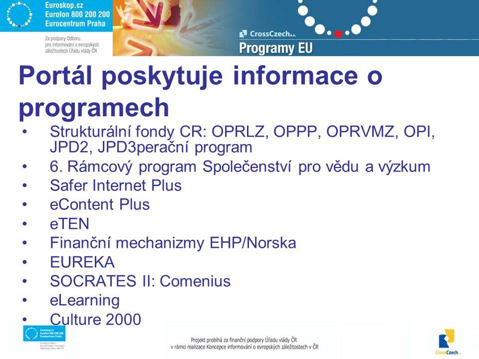 Strukturální fondy CR: OPRLZ, OPPP, OPRVMZ, OPI, JPD2, JPD3perační program 6.