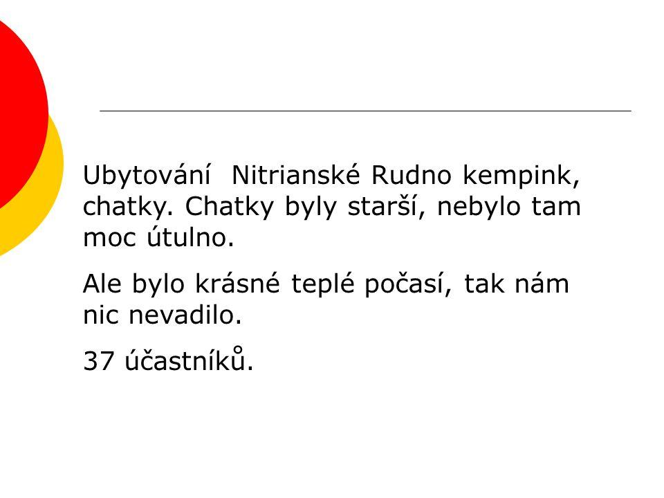 Ubytování Nitrianské Rudno kempink, chatky. Chatky byly starší, nebylo tam moc útulno.