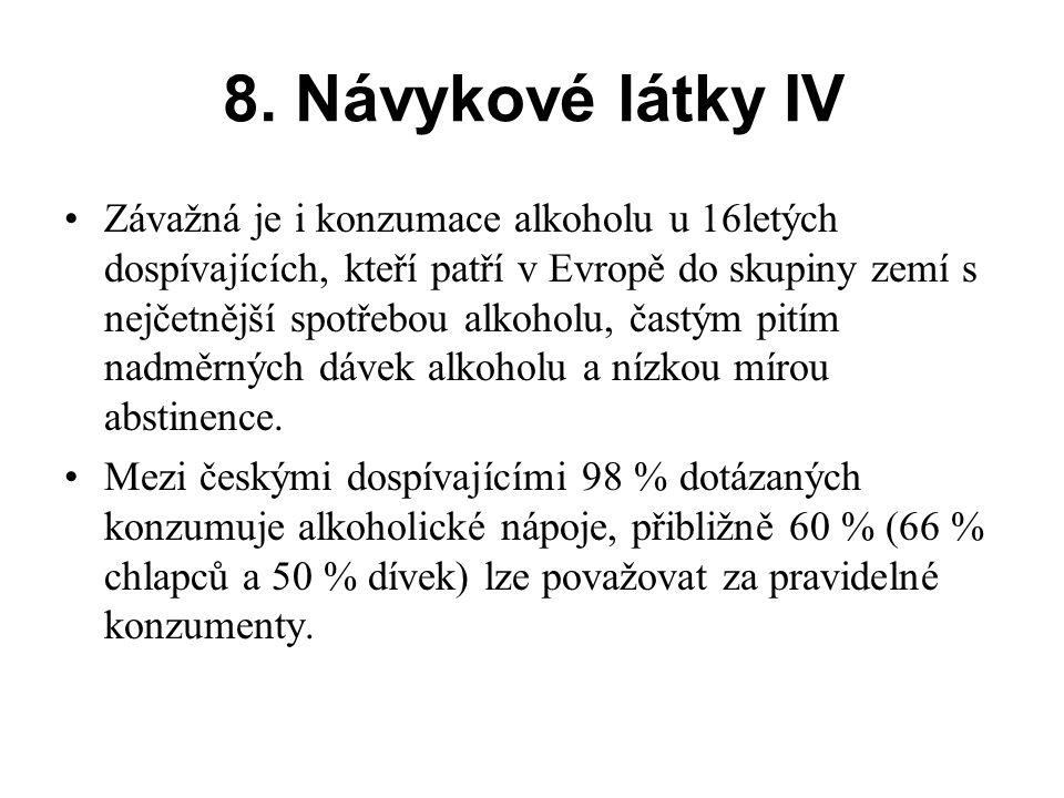 8. Návykové látky IV Závažná je i konzumace alkoholu u 16letých dospívajících, kteří patří v Evropě do skupiny zemí s nejčetnější spotřebou alkoholu,