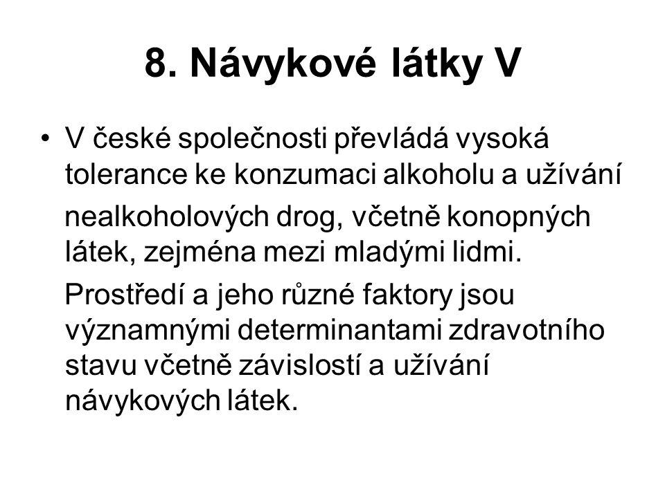 8. Návykové látky V V české společnosti převládá vysoká tolerance ke konzumaci alkoholu a užívání nealkoholových drog, včetně konopných látek, zejména