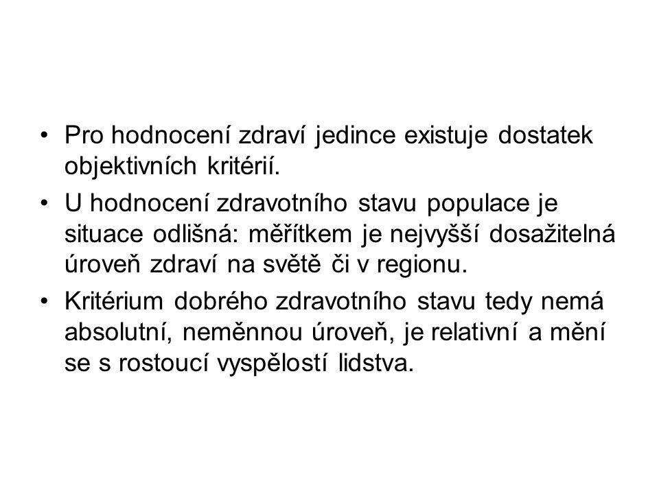 2.2 Zdravá délka života Celkový průměrný počet let prožitých ve zdraví byl v roce 2010 v ČR 62 roků.