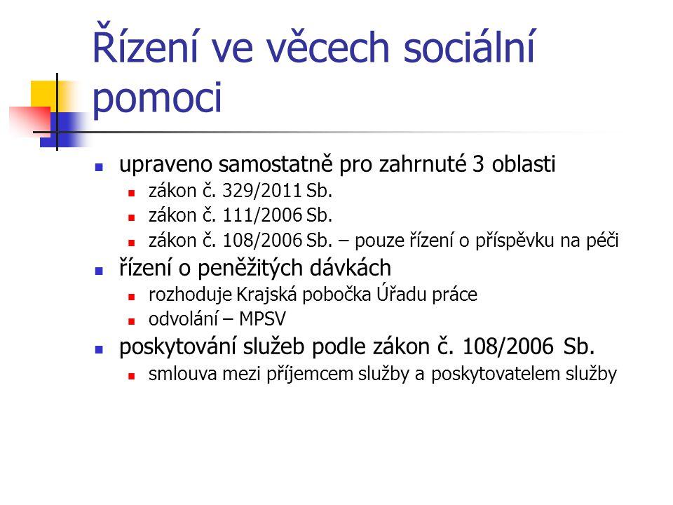 Řízení ve věcech sociální pomoci upraveno samostatně pro zahrnuté 3 oblasti zákon č. 329/2011 Sb. zákon č. 111/2006 Sb. zákon č. 108/2006 Sb. – pouze
