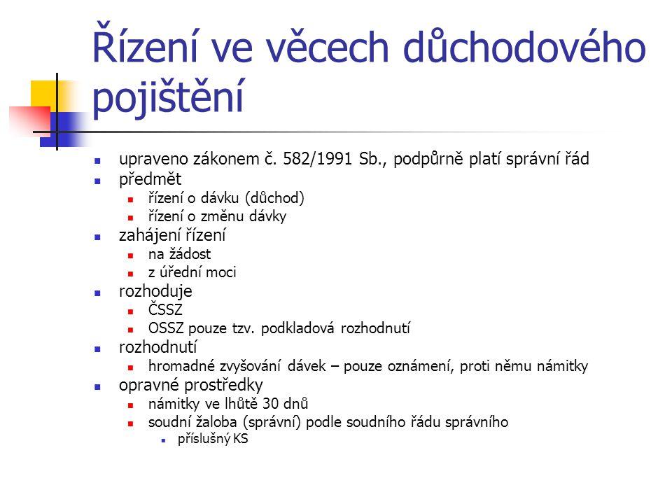 Řízení ve věcech důchodového pojištění upraveno zákonem č.
