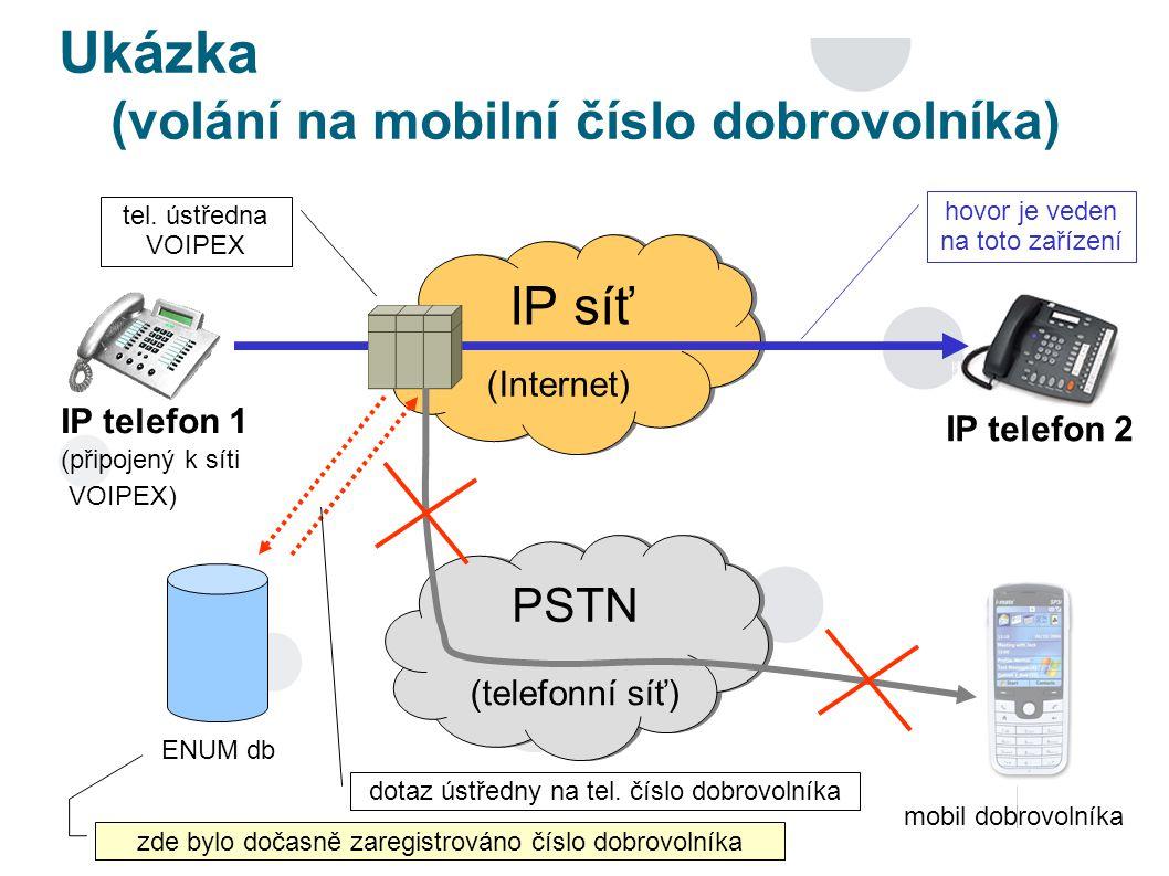 Ukázka (volání na mobilní číslo dobrovolníka) PSTN IP síť (Internet) (telefonní síť) ENUM db tel.