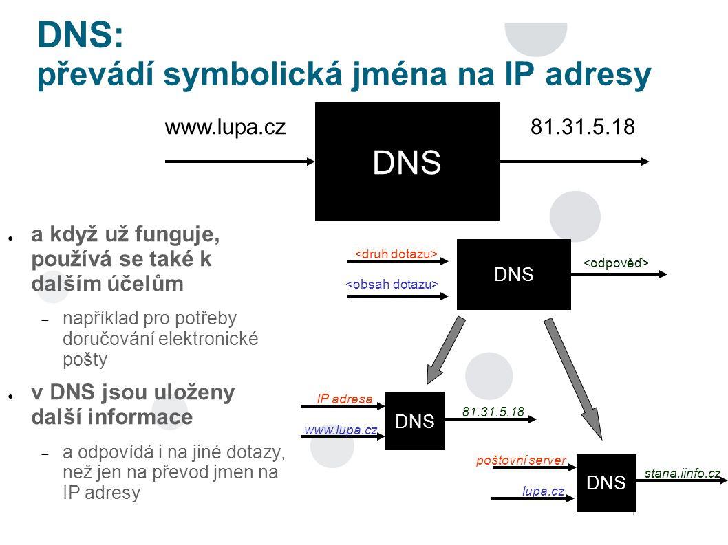 DNS: převádí symbolická jména na IP adresy ● a když už funguje, používá se také k dalším účelům  například pro potřeby doručování elektronické pošty ● v DNS jsou uloženy další informace  a odpovídá i na jiné dotazy, než jen na převod jmen na IP adresy DNS www.lupa.cz81.31.5.18 DNS DNS IP adresa www.lupa.cz 81.31.5.18 DNS poštovní server lupa.cz stana.iinfo.cz