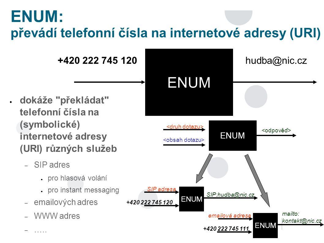 ENUM: převádí telefonní čísla na internetové adresy (URI) ● dokáže překládat telefonní čísla na (symbolické) internetové adresy (URI) různých služeb  SIP adres ● pro hlasová volání ● pro instant messaging  emailových adres  WWW adres  …..