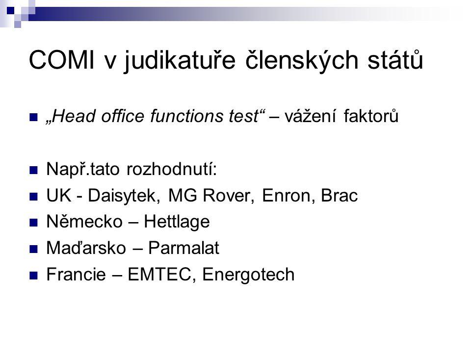 """COMI v judikatuře členských států """"Head office functions test – vážení faktorů Např.tato rozhodnutí: UK - Daisytek, MG Rover, Enron, Brac Německo – Hettlage Maďarsko – Parmalat Francie – EMTEC, Energotech"""