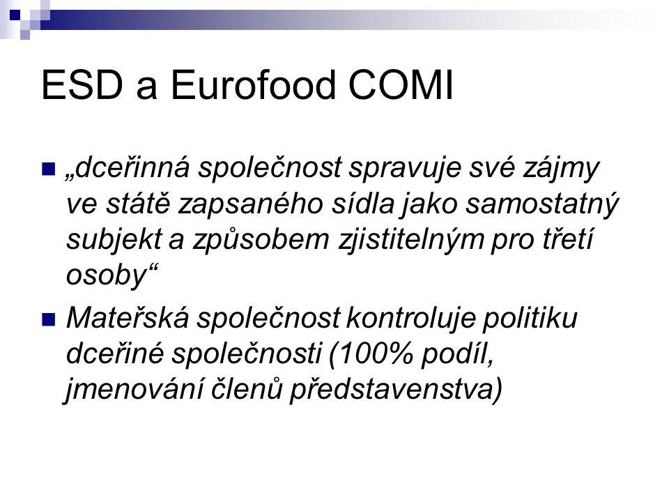 """ESD a Eurofood COMI """"dceřinná společnost spravuje své zájmy ve státě zapsaného sídla jako samostatný subjekt a způsobem zjistitelným pro třetí osoby Mateřská společnost kontroluje politiku dceřiné společnosti (100% podíl, jmenování členů představenstva)"""