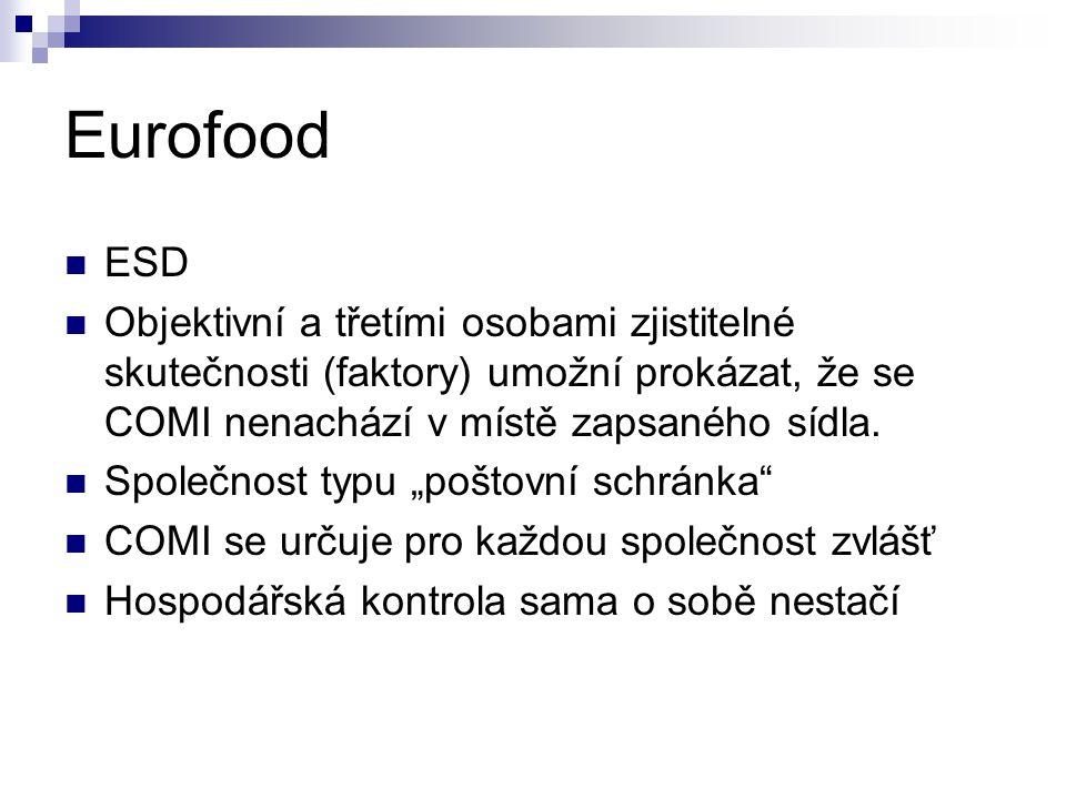 Eurofood ESD Objektivní a třetími osobami zjistitelné skutečnosti (faktory) umožní prokázat, že se COMI nenachází v místě zapsaného sídla.