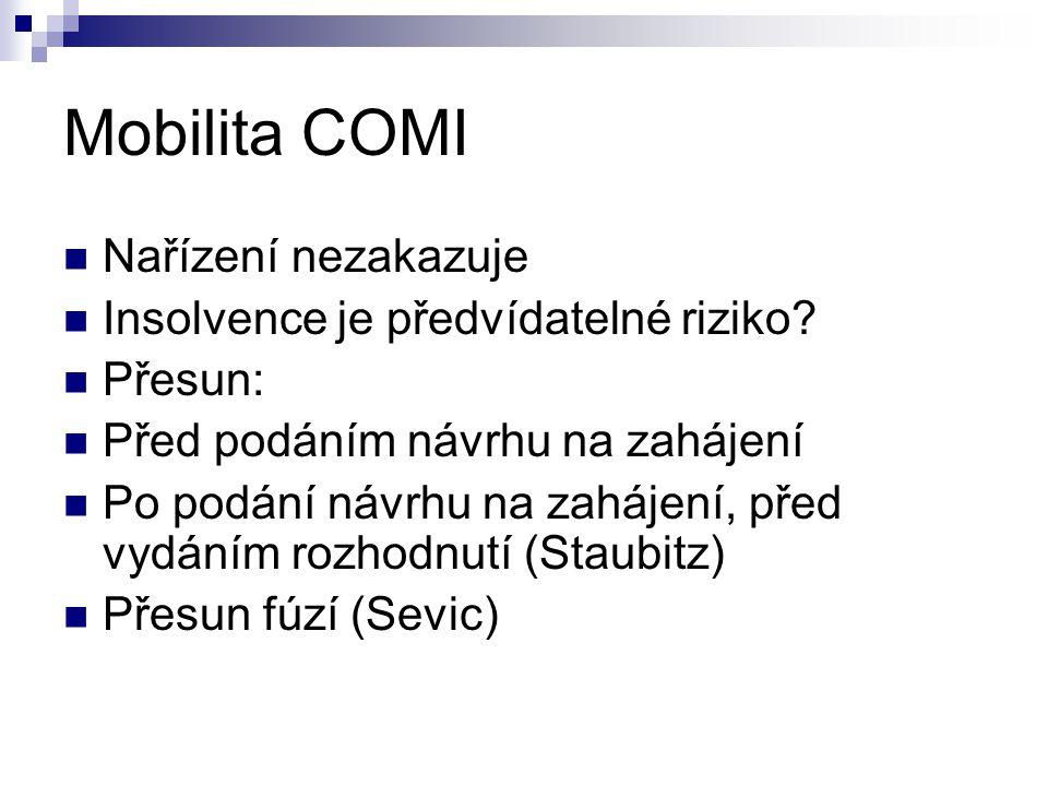 Mobilita COMI Nařízení nezakazuje Insolvence je předvídatelné riziko.