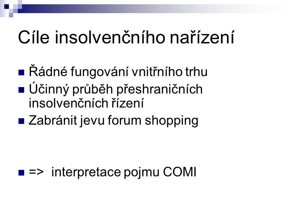 Cíle insolvenčního nařízení Řádné fungování vnitřního trhu Účinný průběh přeshraničních insolvenčních řízení Zabránit jevu forum shopping => interpretace pojmu COMI