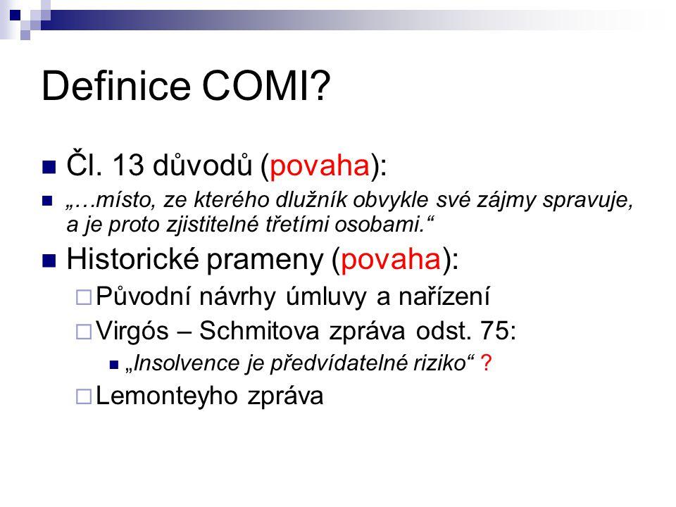 Definice COMI. Čl.