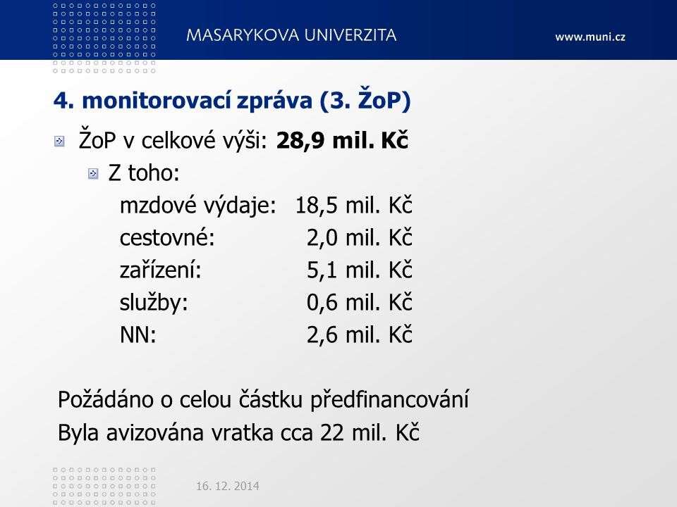4. monitorovací zpráva (3. ŽoP) ŽoP v celkové výši: 28,9 mil.