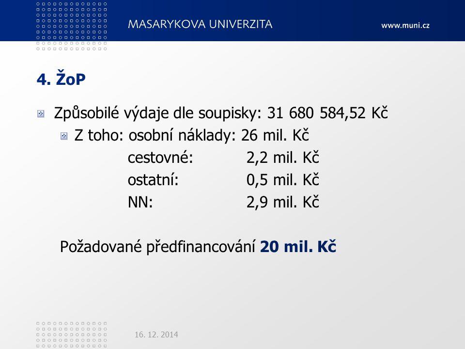 4. ŽoP Způsobilé výdaje dle soupisky: 31 680 584,52 Kč Z toho: osobní náklady: 26 mil.