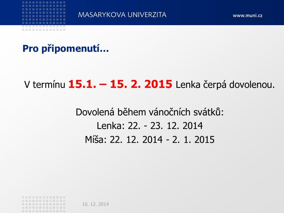 Pro připomenutí… V termínu 15.1. – 15. 2. 2015 Lenka čerpá dovolenou.