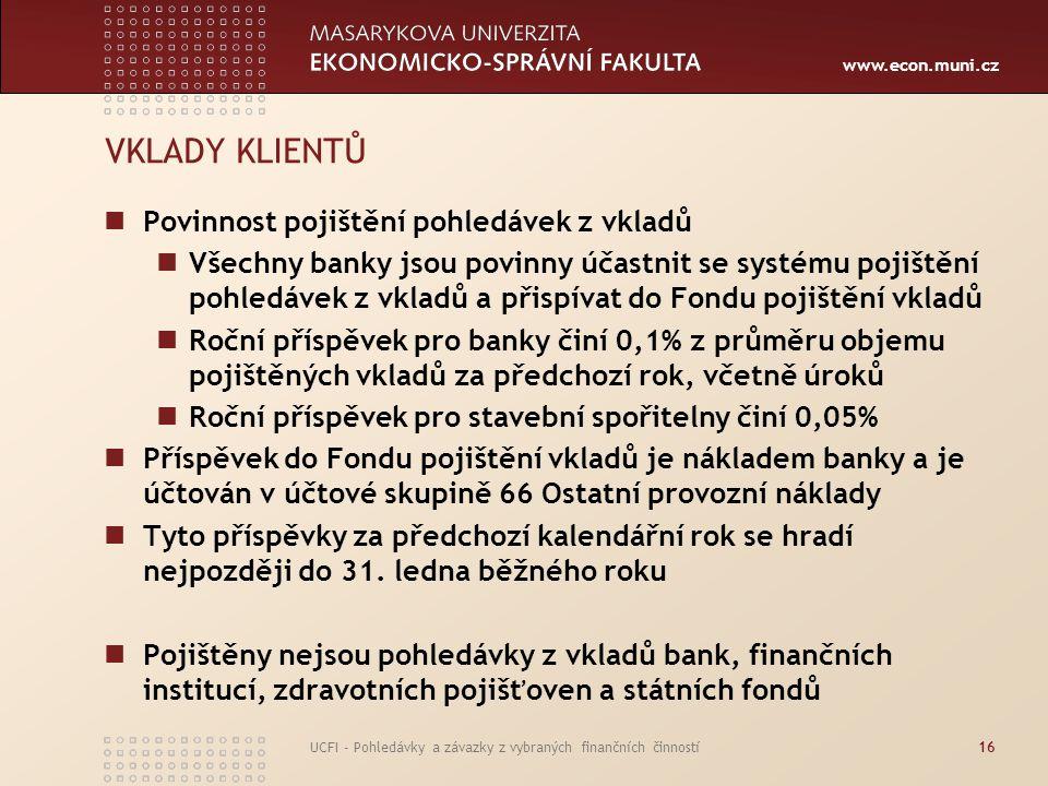 www.econ.muni.cz UCFI - Pohledávky a závazky z vybraných finančních činností16 VKLADY KLIENTŮ Povinnost pojištění pohledávek z vkladů Všechny banky js