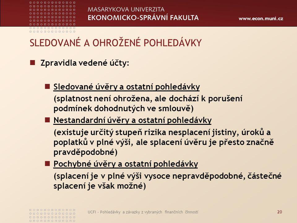 www.econ.muni.cz UCFI - Pohledávky a závazky z vybraných finančních činností20 SLEDOVANÉ A OHROŽENÉ POHLEDÁVKY Zpravidla vedené účty: Sledované úvěry