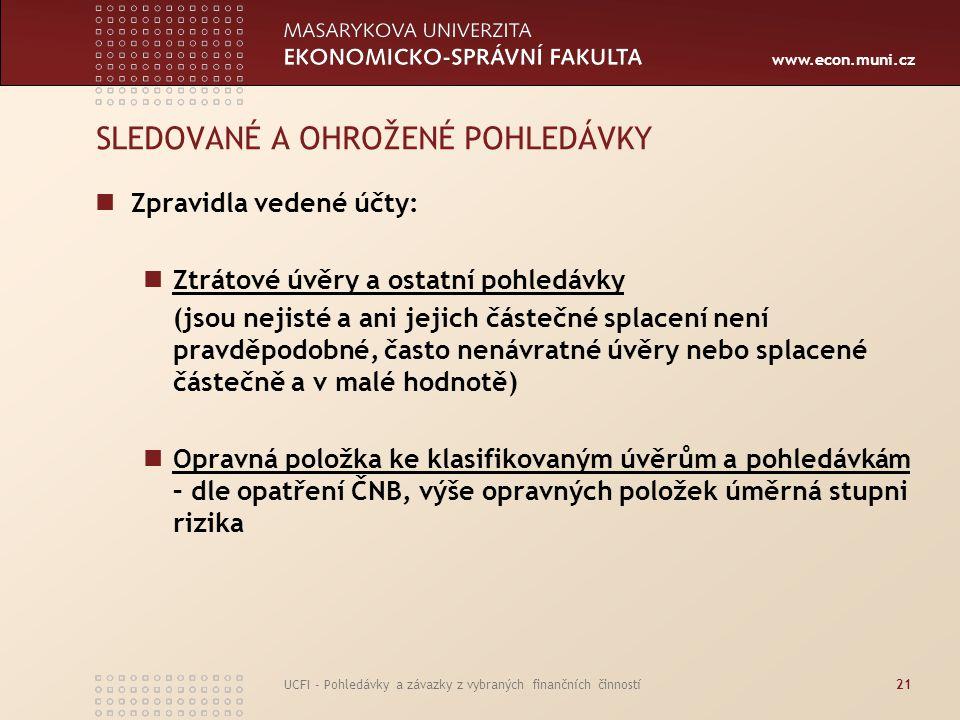 www.econ.muni.cz UCFI - Pohledávky a závazky z vybraných finančních činností21 SLEDOVANÉ A OHROŽENÉ POHLEDÁVKY Zpravidla vedené účty: Ztrátové úvěry a