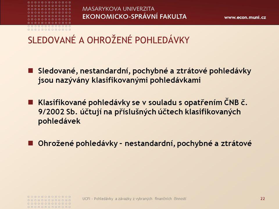 www.econ.muni.cz UCFI - Pohledávky a závazky z vybraných finančních činností22 SLEDOVANÉ A OHROŽENÉ POHLEDÁVKY Sledované, nestandardní, pochybné a ztr