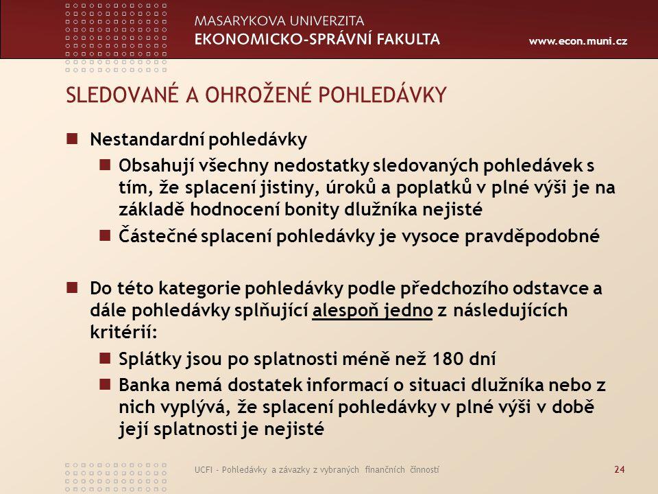 www.econ.muni.cz UCFI - Pohledávky a závazky z vybraných finančních činností24 SLEDOVANÉ A OHROŽENÉ POHLEDÁVKY Nestandardní pohledávky Obsahují všechn