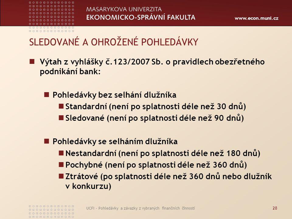 www.econ.muni.cz UCFI - Pohledávky a závazky z vybraných finančních činností28 SLEDOVANÉ A OHROŽENÉ POHLEDÁVKY Výtah z vyhlášky č.123/2007 Sb. o pravi