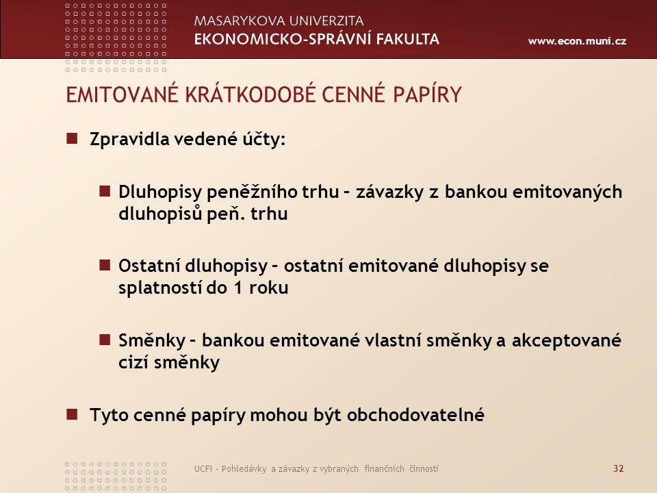 www.econ.muni.cz UCFI - Pohledávky a závazky z vybraných finančních činností32 EMITOVANÉ KRÁTKODOBÉ CENNÉ PAPÍRY Zpravidla vedené účty: Dluhopisy peně