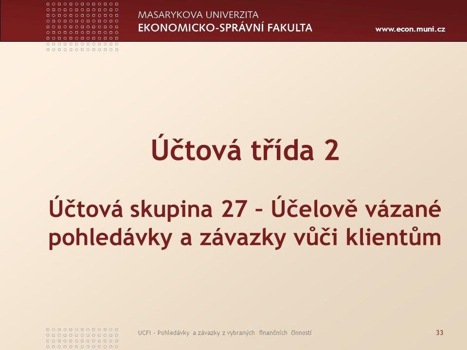 www.econ.muni.cz UCFI - Pohledávky a závazky z vybraných finančních činností33 Účtová třída 2 Účtová skupina 27 – Účelově vázané pohledávky a závazky