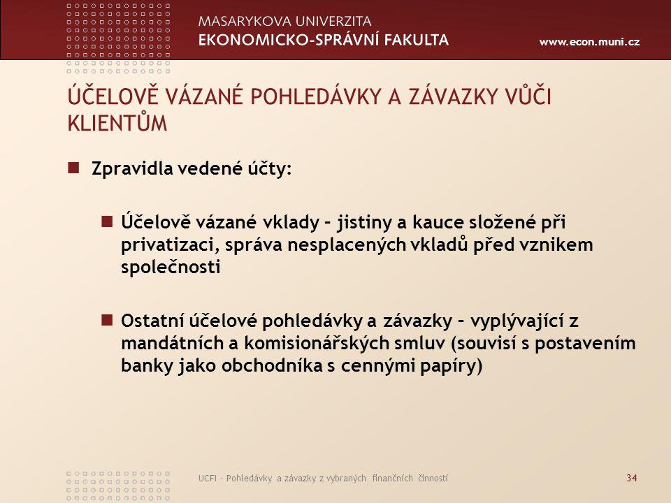 www.econ.muni.cz UCFI - Pohledávky a závazky z vybraných finančních činností34 ÚČELOVĚ VÁZANÉ POHLEDÁVKY A ZÁVAZKY VŮČI KLIENTŮM Zpravidla vedené účty
