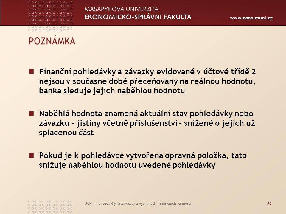 www.econ.muni.cz UCFI - Pohledávky a závazky z vybraných finančních činností36 POZNÁMKA Finanční pohledávky a závazky evidované v účtové třídě 2 nejso