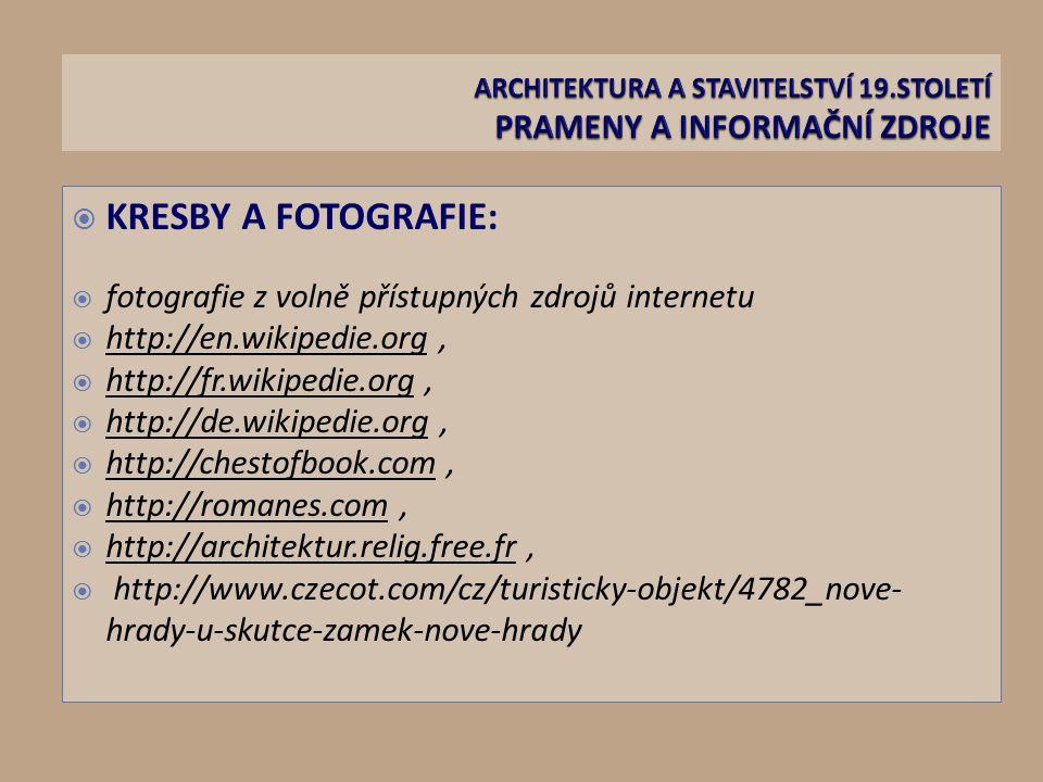  KRESBY A FOTOGRAFIE:  fotografie z volně přístupných zdrojů internetu  http://en.wikipedie.org,  http://fr.wikipedie.org,  http://de.wikipedie.org,  http://chestofbook.com,  http://romanes.com,  http://architektur.relig.free.fr,  http://www.czecot.com/cz/turisticky-objekt/4782_nove- hrady-u-skutce-zamek-nove-hrady