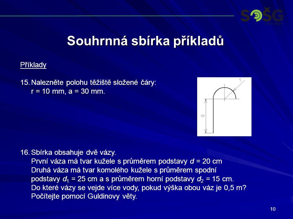 10 Souhrnná sbírka příkladů Příklady 15.Nalezněte polohu těžiště složené čáry: r = 10 mm, a = 30 mm.