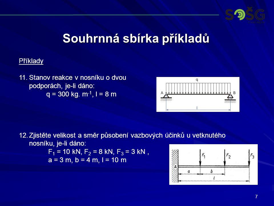 7 Souhrnná sbírka příkladů Příklady 11.Stanov reakce v nosníku o dvou podporách, je-li dáno: q = 300 kg.