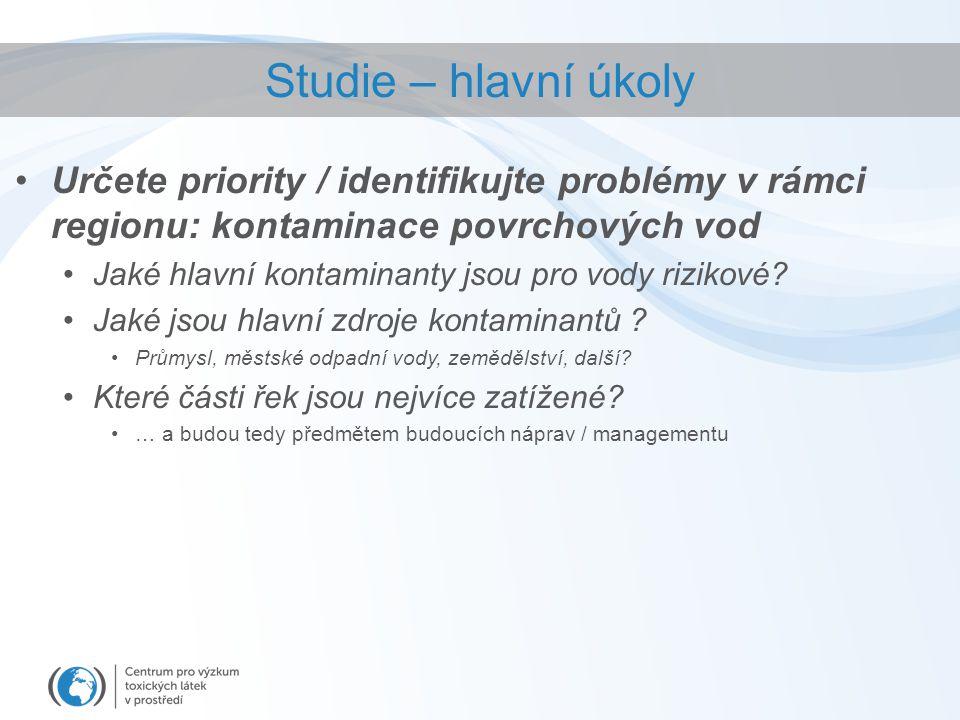 Určete priority / identifikujte problémy v rámci regionu: kontaminace povrchových vod Jaké hlavní kontaminanty jsou pro vody rizikové.