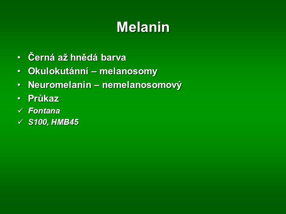 Melanin Černá až hnědá barvaČerná až hnědá barva Okulokutánní – melanosomyOkulokutánní – melanosomy Neuromelanin – nemelanosomovýNeuromelanin – nemela