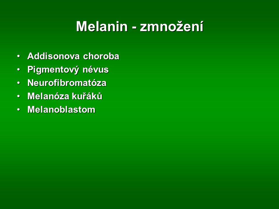 Melanin - zmnožení Addisonova chorobaAddisonova choroba Pigmentový névusPigmentový névus NeurofibromatózaNeurofibromatóza Melanóza kuřákůMelanóza kuřá