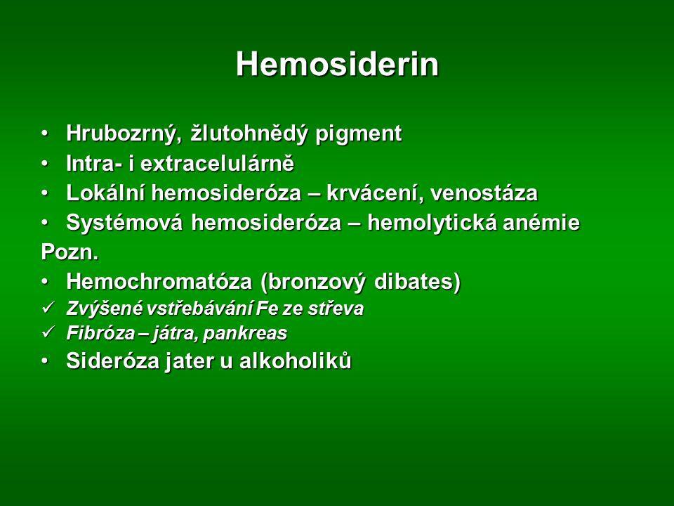 Hemosiderin Hrubozrný, žlutohnědý pigmentHrubozrný, žlutohnědý pigment Intra- i extracelulárněIntra- i extracelulárně Lokální hemosideróza – krvácení,