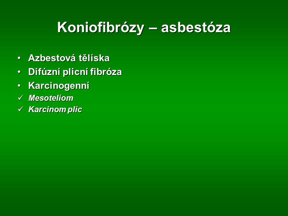 Koniofibrózy – asbestóza Azbestová tělískaAzbestová tělíska Difúzní plicní fibrózaDifúzní plicní fibróza KarcinogenníKarcinogenní Mesoteliom Mesotelio