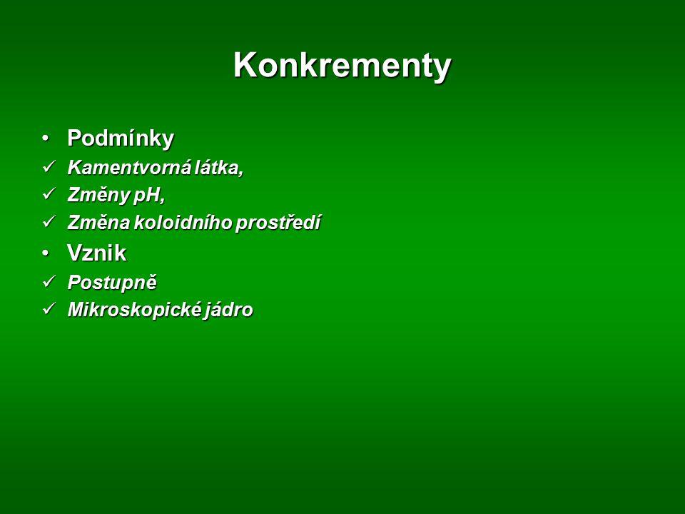 Konkrementy PodmínkyPodmínky Kamentvorná látka, Kamentvorná látka, Změny pH, Změny pH, Změna koloidního prostředí Změna koloidního prostředí VznikVzni