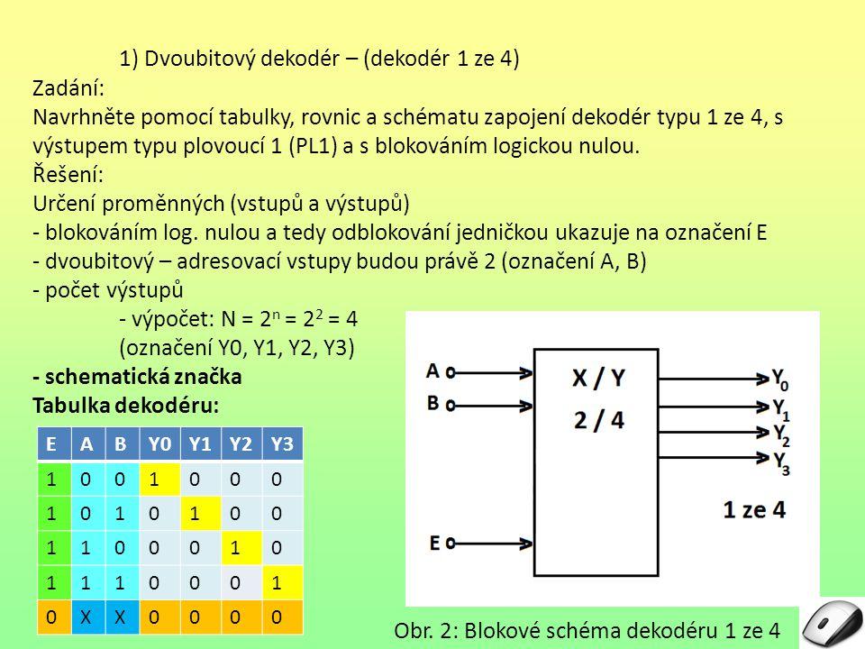 1) Dvoubitový dekodér – (dekodér 1 ze 4) Zadání: Navrhněte pomocí tabulky, rovnic a schématu zapojení dekodér typu 1 ze 4, s výstupem typu plovoucí 1