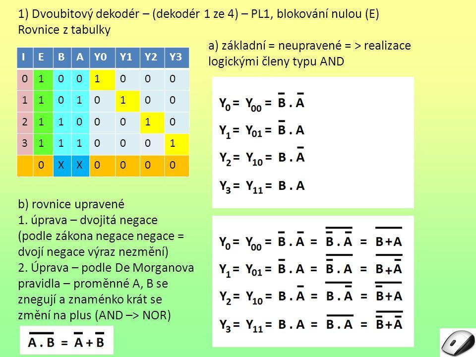1) Dvoubitový dekodér – (dekodér 1 ze 4) – PL1, blokování nulou (E) Rovnice z tabulky a) základní = neupravené = > realizace logickými členy typu AND