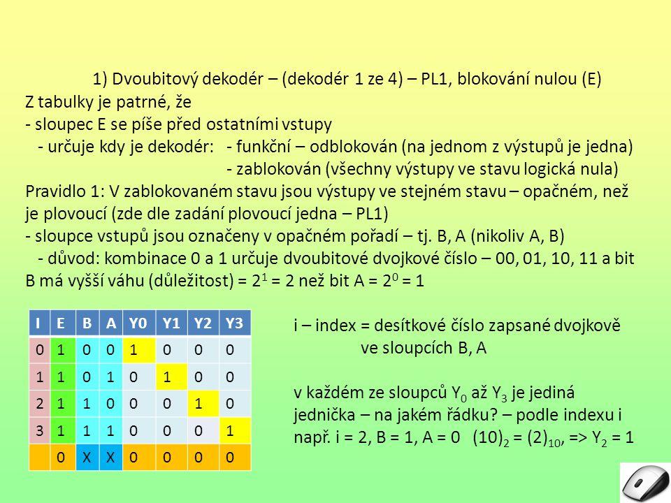 1) Dvoubitový dekodér – (dekodér 1 ze 4) – PL1, blokování nulou (E) Z tabulky je patrné, že - sloupec E se píše před ostatními vstupy - určuje kdy je