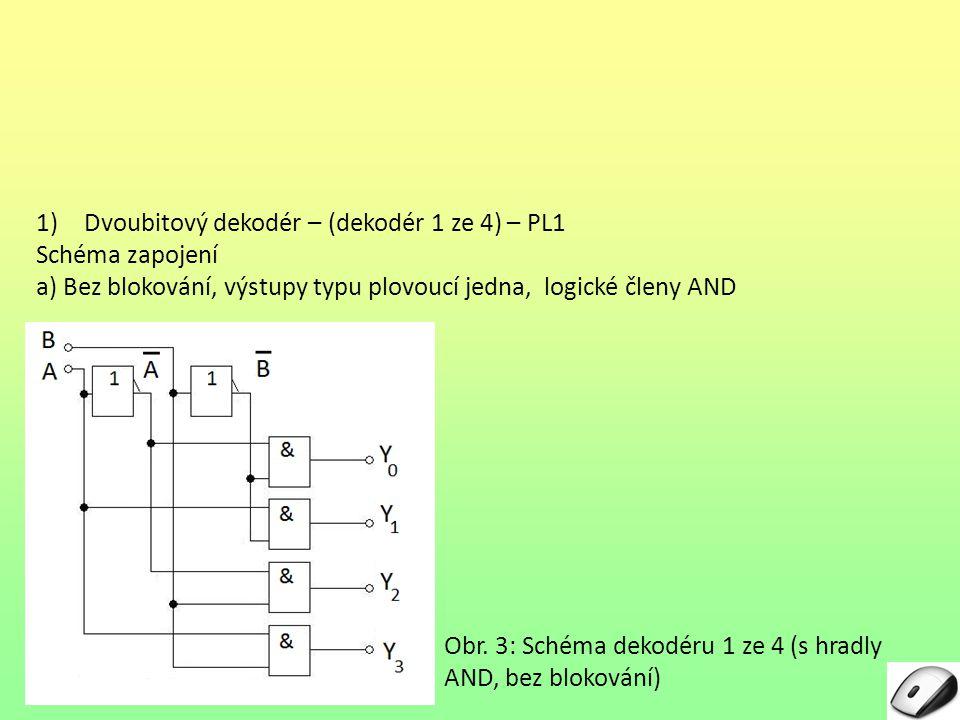 1)Dvoubitový dekodér – (dekodér 1 ze 4) – PL1 Schéma zapojení a) Bez blokování, výstupy typu plovoucí jedna, logické členy AND Obr. 3: Schéma dekodéru