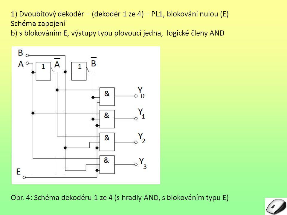 1) Dvoubitový dekodér – (dekodér 1 ze 4) – PL1, blokování nulou (E) Schéma zapojení b) s blokováním E, výstupy typu plovoucí jedna, logické členy AND