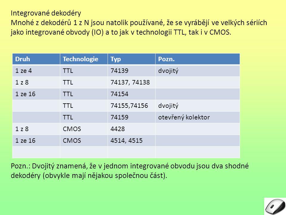 Integrované dekodéry Mnohé z dekodérů 1 z N jsou natolik používané, že se vyrábějí ve velkých sériích jako integrované obvody (IO) a to jak v technolo
