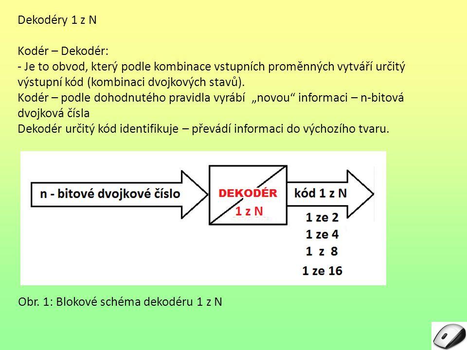 1 z N Kodér – Dekodér: - Je to obvod, který podle kombinace vstupních proměnných vytváří určitý výstupní kód (kombinaci dvojkových stavů). Kodér – pod
