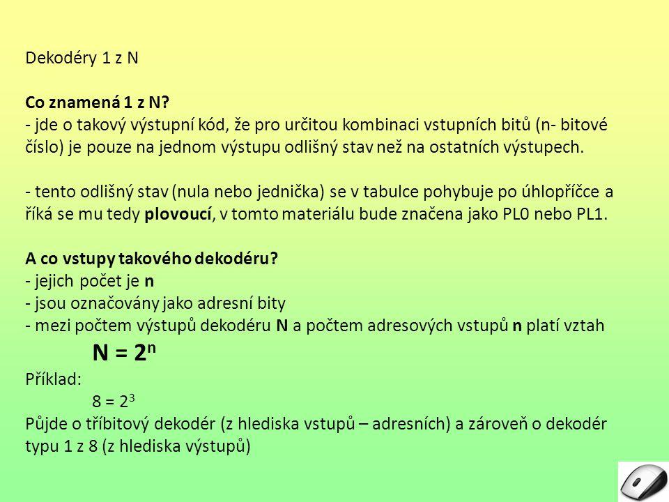 Dekodéry 1 z N Co musí obsahovat zadání návrhu dekodéru kódu 1 z N .