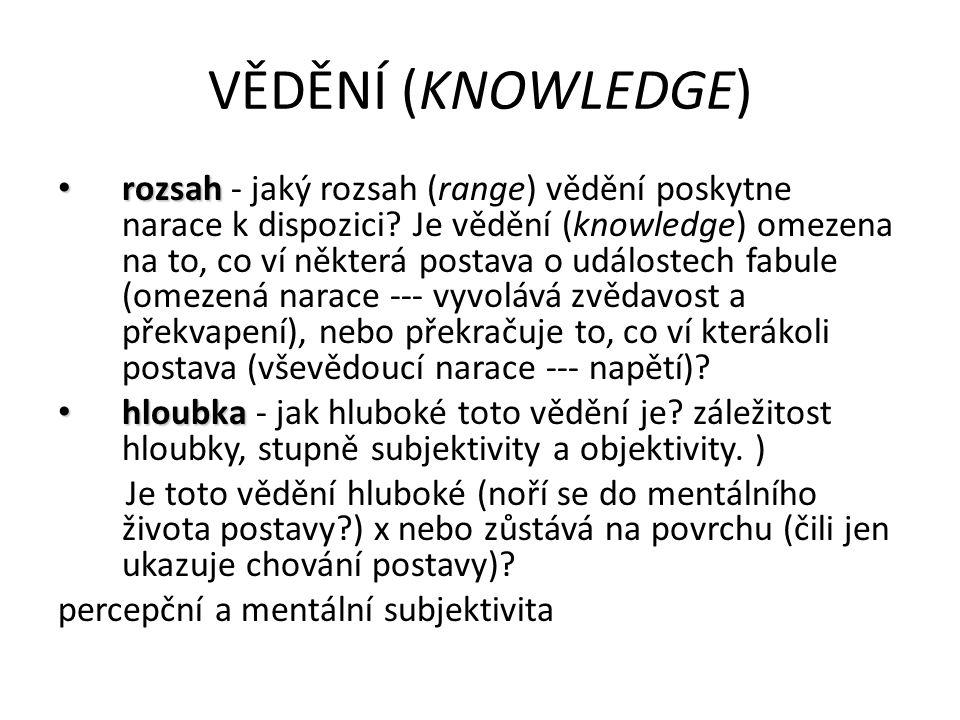 VĚDĚNÍ (KNOWLEDGE) rozsah rozsah - jaký rozsah (range) vědění poskytne narace k dispozici.